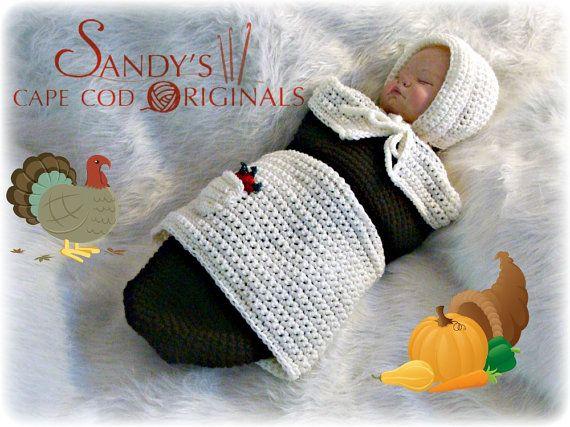 Pilgrim Baby Girl Cocoon and Bonnet Crochet Pattern pdf 629 | Baby ...