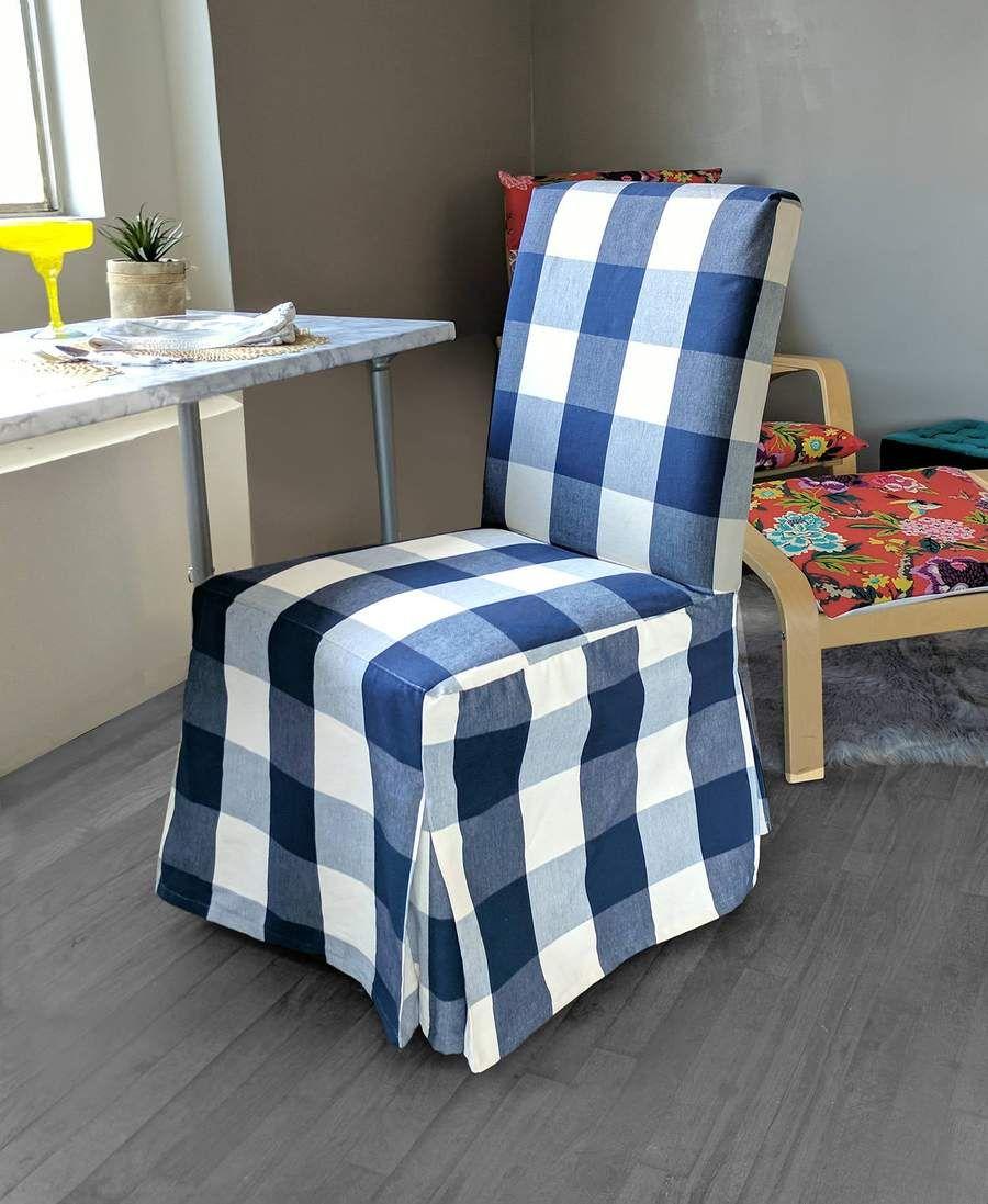 IKEA Henriksdsal Dining Chair Cover, Buffalo Check Navy