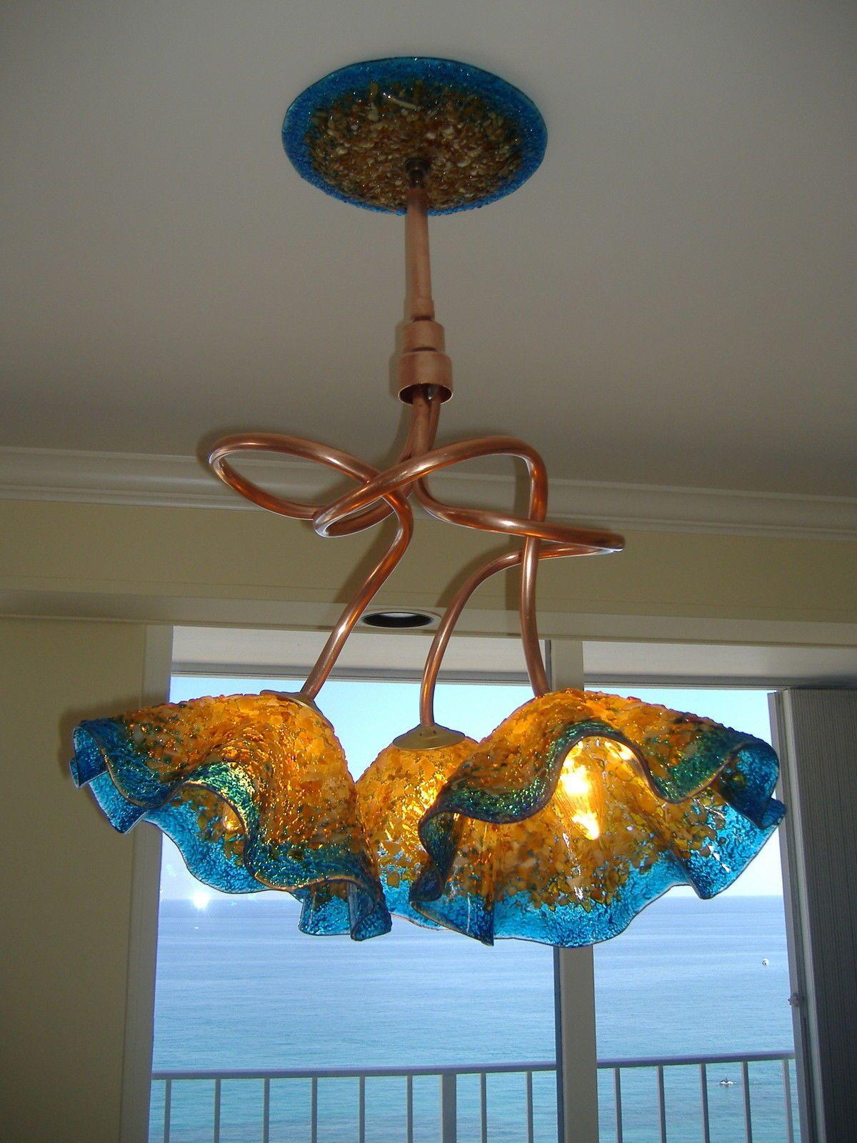 Blown Glass Chandelier Custom Chandelier Hand Blown Glass Amber Blue | eBay