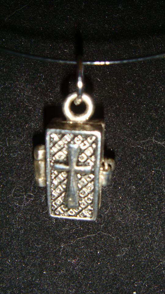 Cross Locket on wire barrel cord Necklace