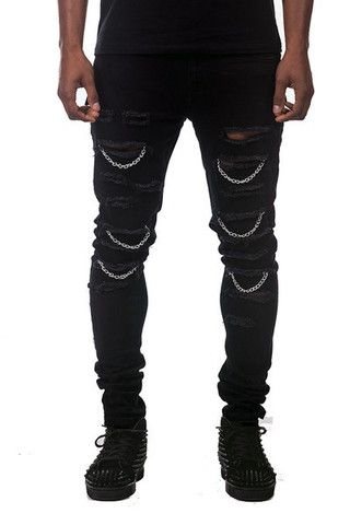 Black Ripped Jean With Chains Black Jeans Men Rockstar Jeans Men Jeans With Chains