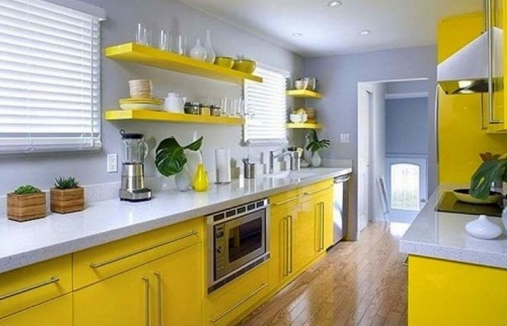 Superb Yellow Kitchen Ideas Part - 2: Yellow Kitchen Ideas Pinterest Modern Yellow Kitchen Cabinets With Shelves  Also Sleek White Countertop Carrying Small