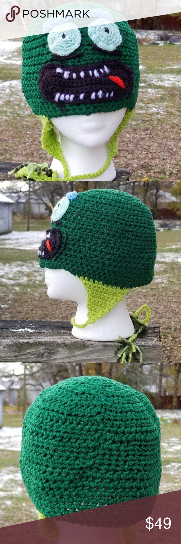 Pickle Rick Crochet Character Hat Handmade Crochet Character Hats Crochet Rick And Morty Hat