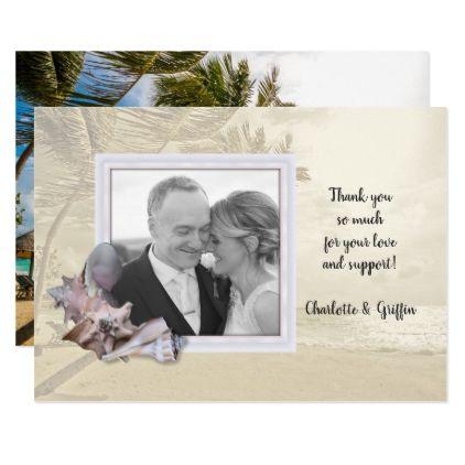 Beach Shells Photo Frame Thank You Note Card - wedding invitations