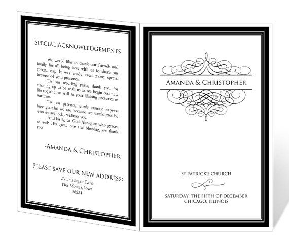 INSTANT DOWNLOAD - Wedding Program Template - Elegant Design - event template word