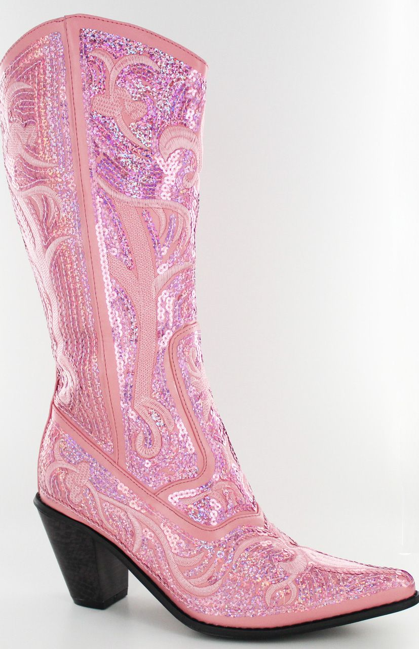 Womens Pink Fuchsia Flower Sequins Leather Cowgirl Boots Rodeo Wear Pointed Toe