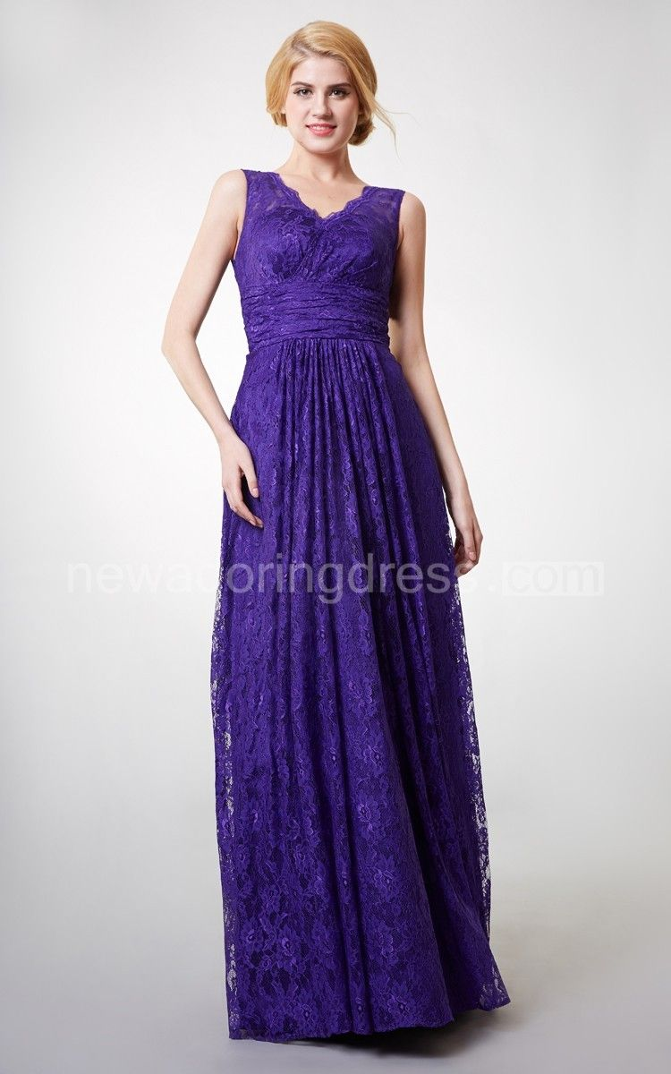 Country style vneck long lace bridesmaid dress lace bridesmaids