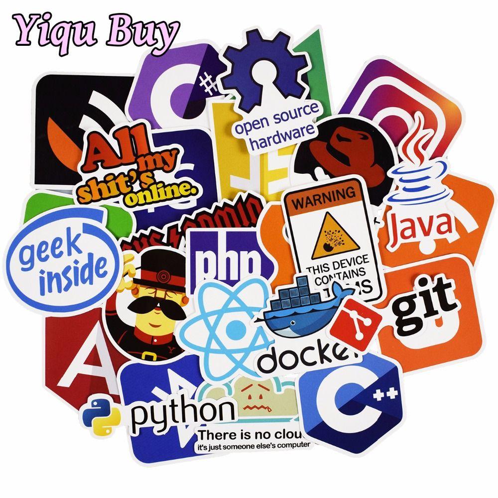 50Pcs Developer Programming Sticker Java JS Php Internet Bitcoin Html For laptop