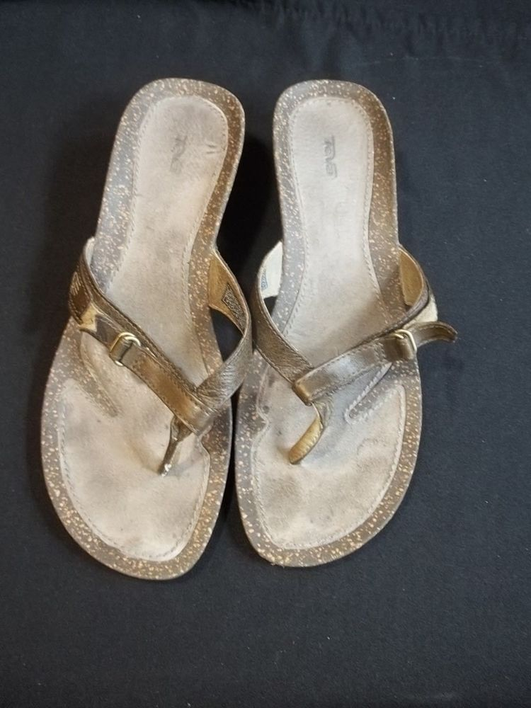 49c0054223e5 Teva Brown Leather Sandals Size 9 Cork Wedge Heel Slides Flip Flops  Teva   FlipFlops