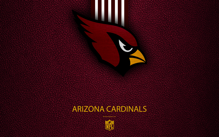 Hämta bilder Arizona Cardinals, 4k, Amerikansk fotboll, logotyp, emblem, Arizona, USA, NFL, vinrött läder konsistens, National Football League, Western Division