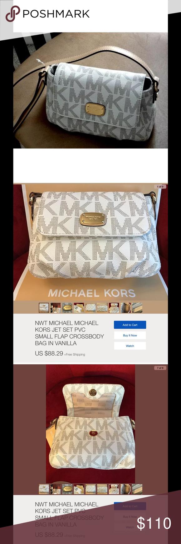 d851696a99ea Micheal Kors Crossbody Bags Micheal Kors Small Jet Set Flap Crossbody Bag  Vanilla KORS Michael Kors Bags Crossbody Bags