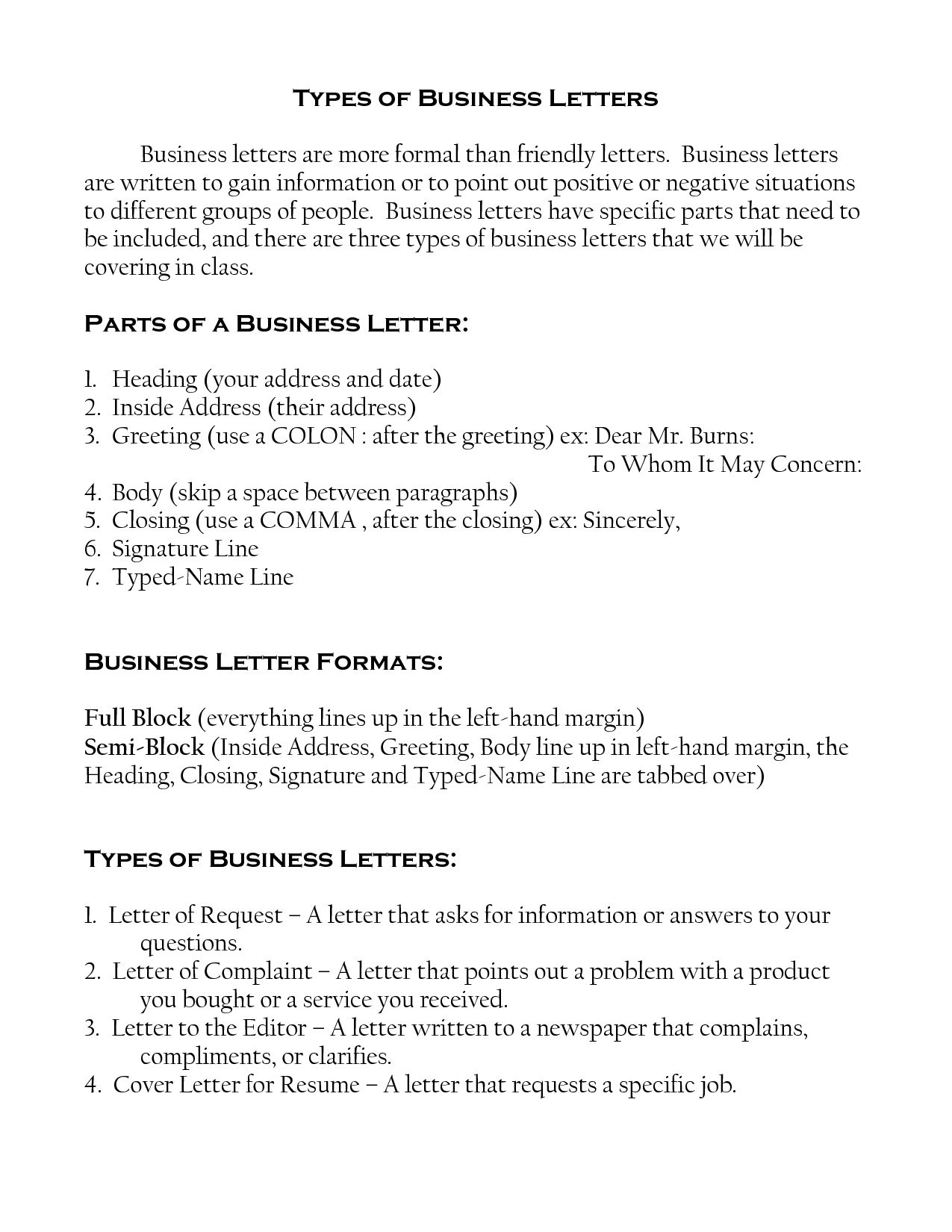 type business letters sample the letter different format