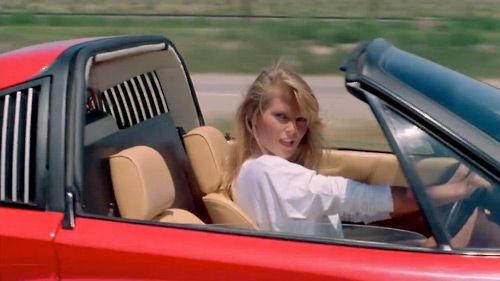 """Christie Brinkley as the """" in the Ferrari"""" in National Lampoon's"""