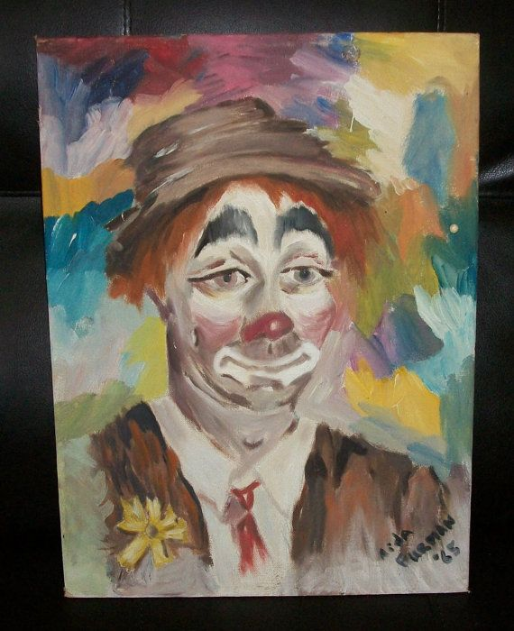 Vintage Clown Oil Painting by nancytreasures on Etsy