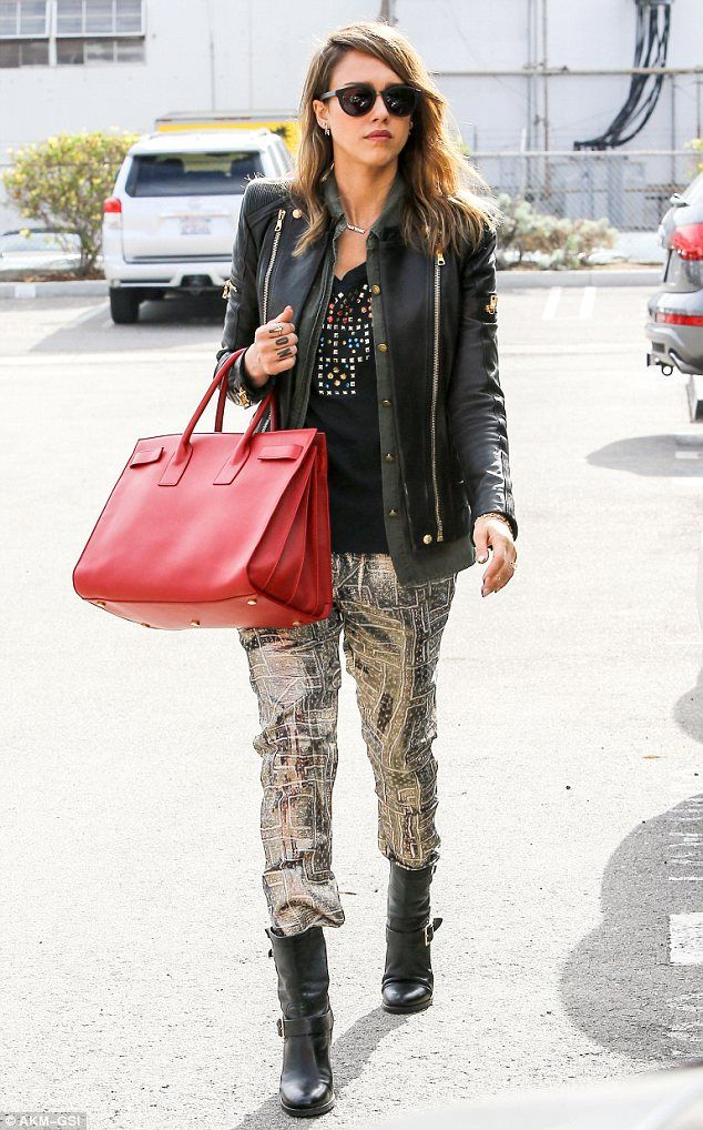 cff05bf806 Leathered: Jessica Alba channeled her inner-rock chick on Tuesday when she  stepped out in Santa Monica