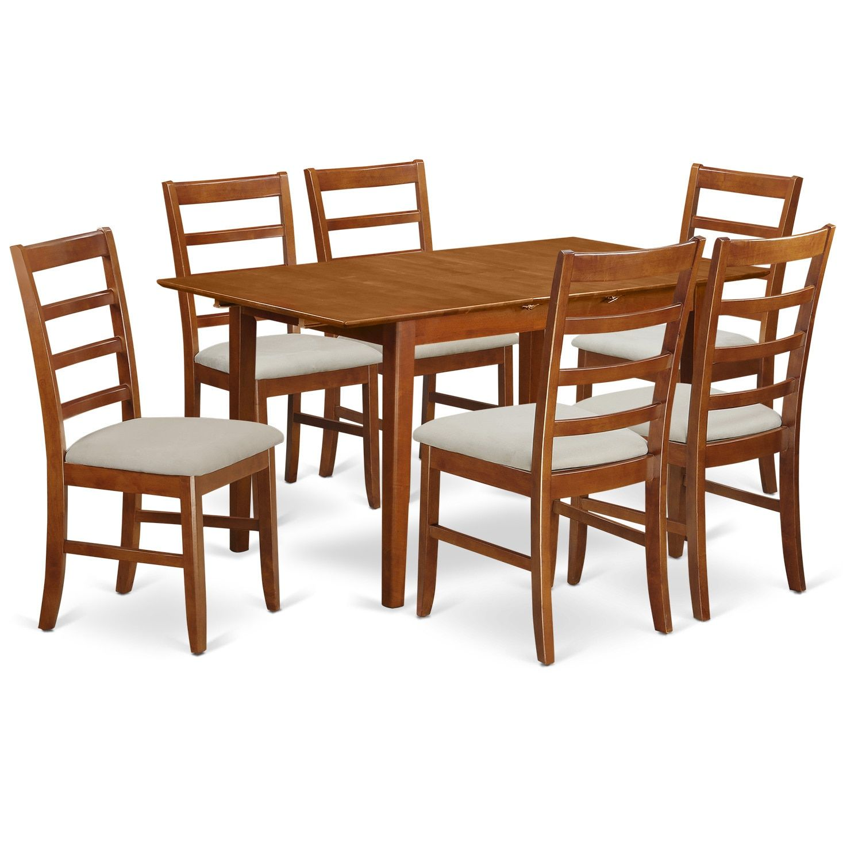 "Pspf SBR C 5 Piece Rectangular Dining Table having 18"" Leaf and 4"