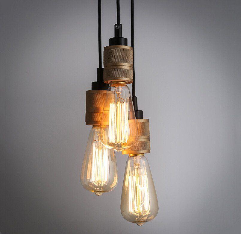 Hooked Industrial Brass Single Bare Edison Bulb Pendant