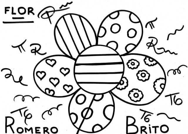 Obras De Romero Britto Para Colorir Coloriage Fleur Romero Britto Coloriage