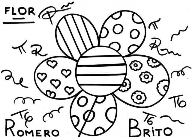 Romero Britto Para Colorir Flor Romero Brito Desenhos Do