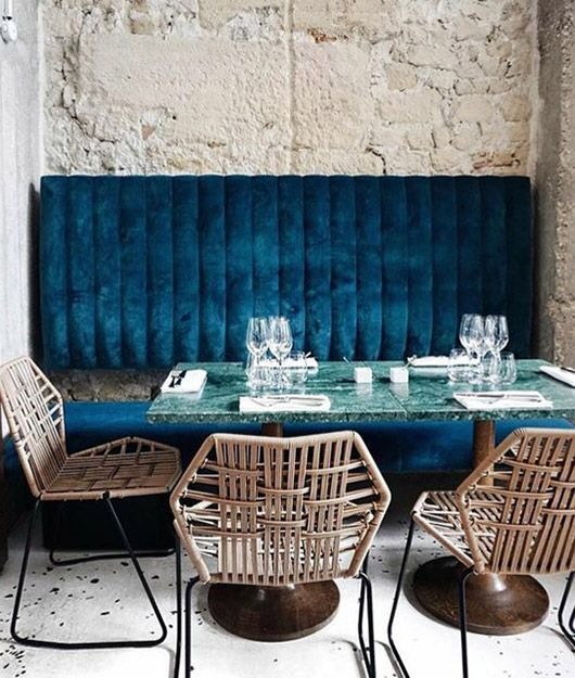 dining booth with blue velvet upholstery - Blue Cafe Decorating