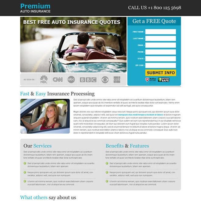 Free Insurance Quotes Entrancing Best Free Auto Insurance Quotes Effective Lead Capture Landing Page . Design Decoration
