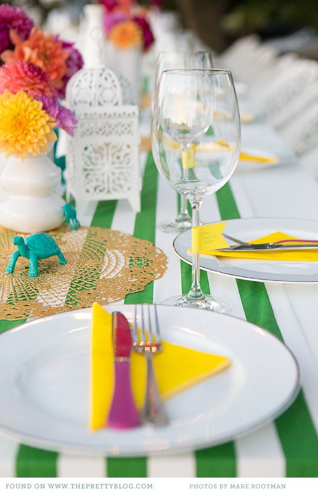 Colourful table setting | Photo Mare Rootman Ideas Sylvia from Special Events & Mexican 30th Birthday Bash | Table setting photos Table settings ...