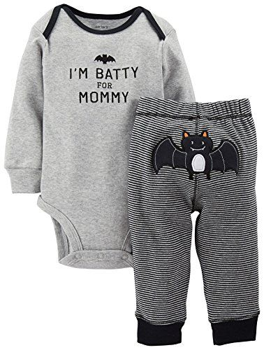 d6949933a Carter's Baby Boys' Black 2-Piece 'I'm Batty For Mommy' Halloween Set (Baby )…