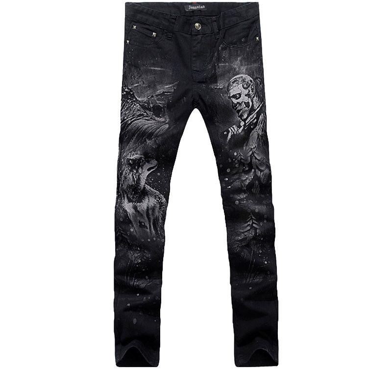 57cc11f93a 2016 nueva moda jeans de pierna recta larga hombres pantalones de mezclilla  impresa algodón fresco diseñador