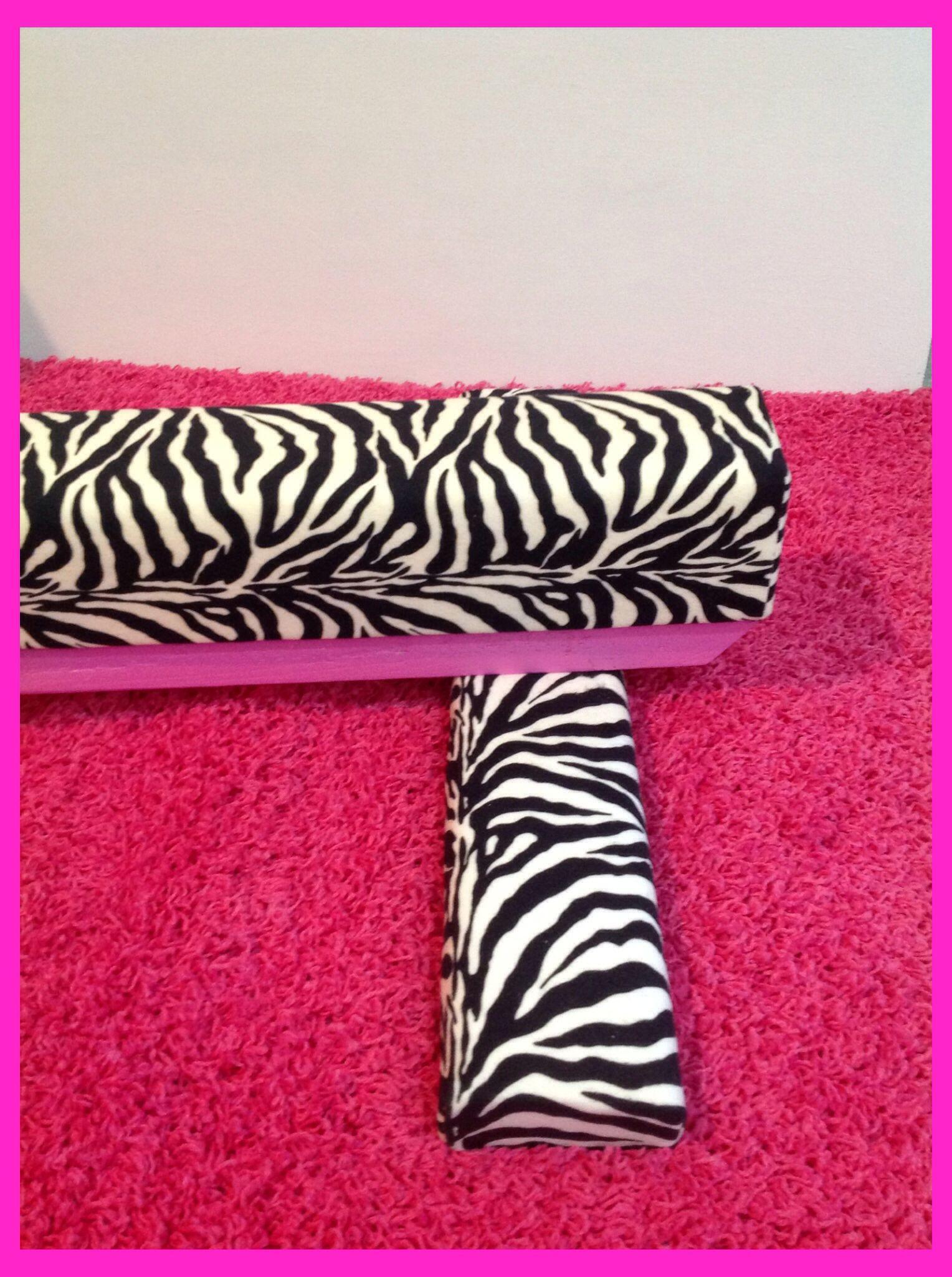 Zebra Print Gymnastics Balance Beam With Hot Pink Base And Zebra Padded Feet Low Gymnastics Balance Beam Zebra Print Gymnastics
