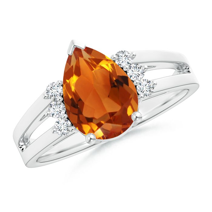 Angara Solitaire Oval Citrine Floral Ring with Diamond in Platinum EmggiGf0j2