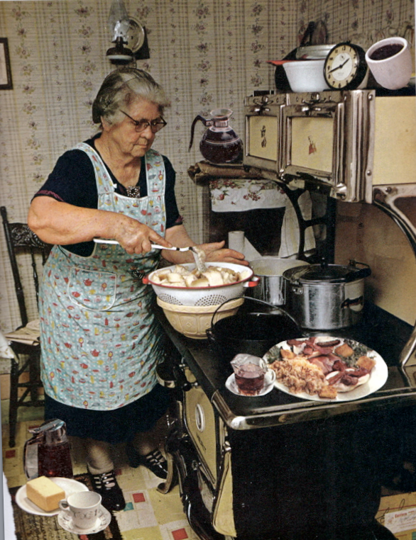 This reminds me of my grandmother in the kitchen on Sunday. Her one good dress…