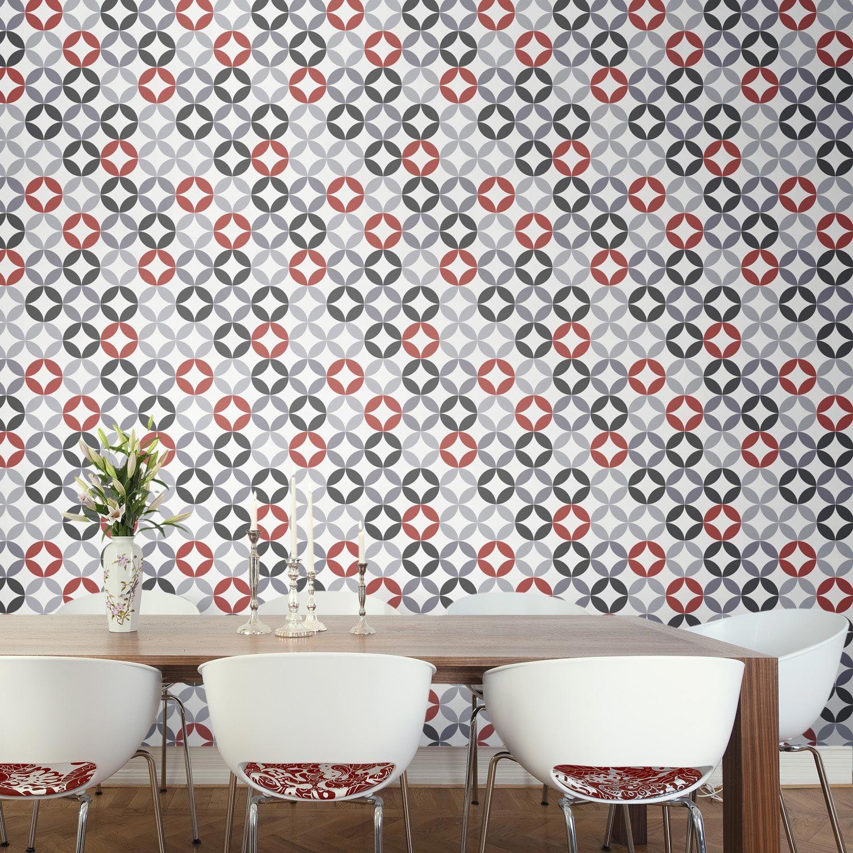 Papier Peint Motifs Gris Blanc Rouge Revetement Mural Pinterest