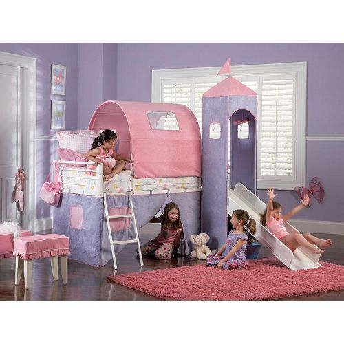 Castle Twin Size Tent Bunk Bed With Slide Princess Bed With