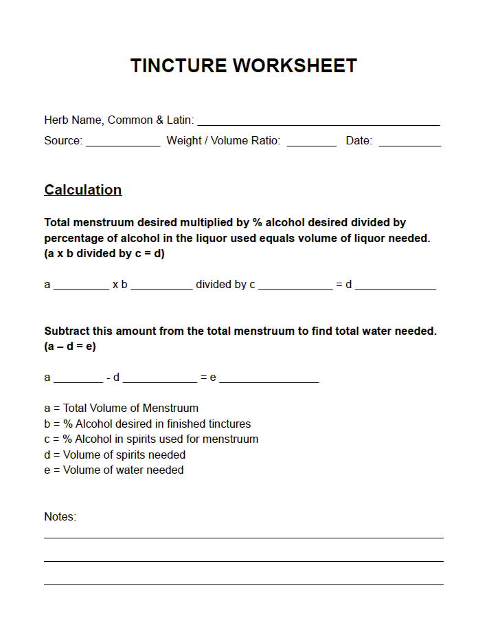 Tincture Worksheet - herbalencounter | Handy Charts for Herbalists