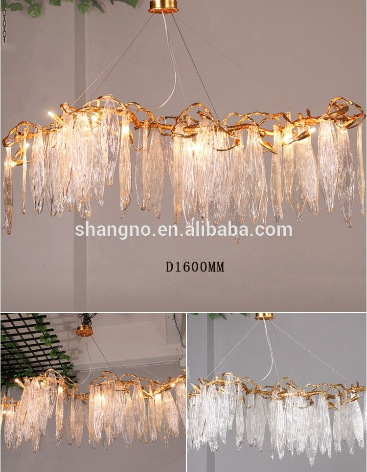 Photo of American retro aluminum chandelier creative branches round crystal luxury lights