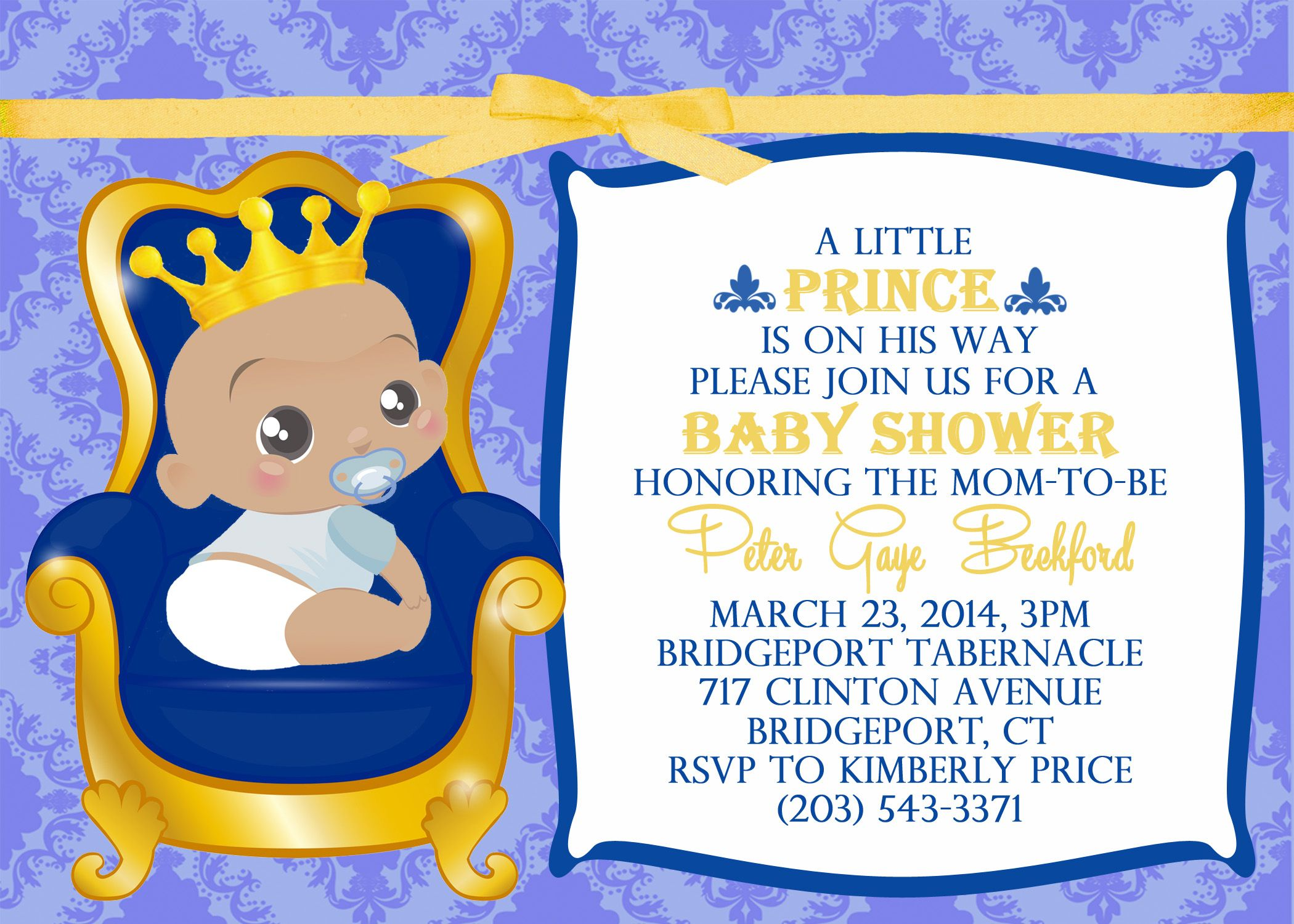 Little Prince Baby Shower Invitation Digital or Printable | Shower ...