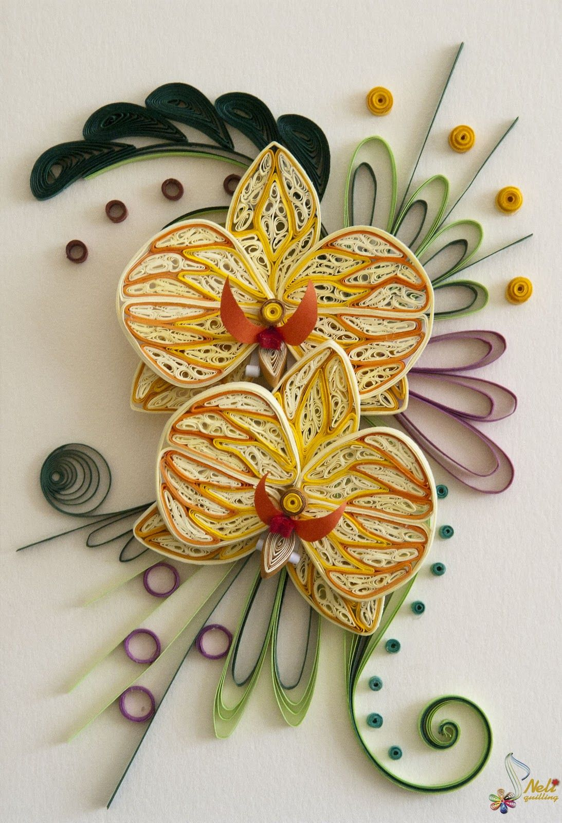 quilled orchids | Quilling cards - orchids | challenge quilling ...