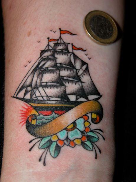 Little ship tattoo by Dan Sinnes. | Tattoos | Tattoos ...