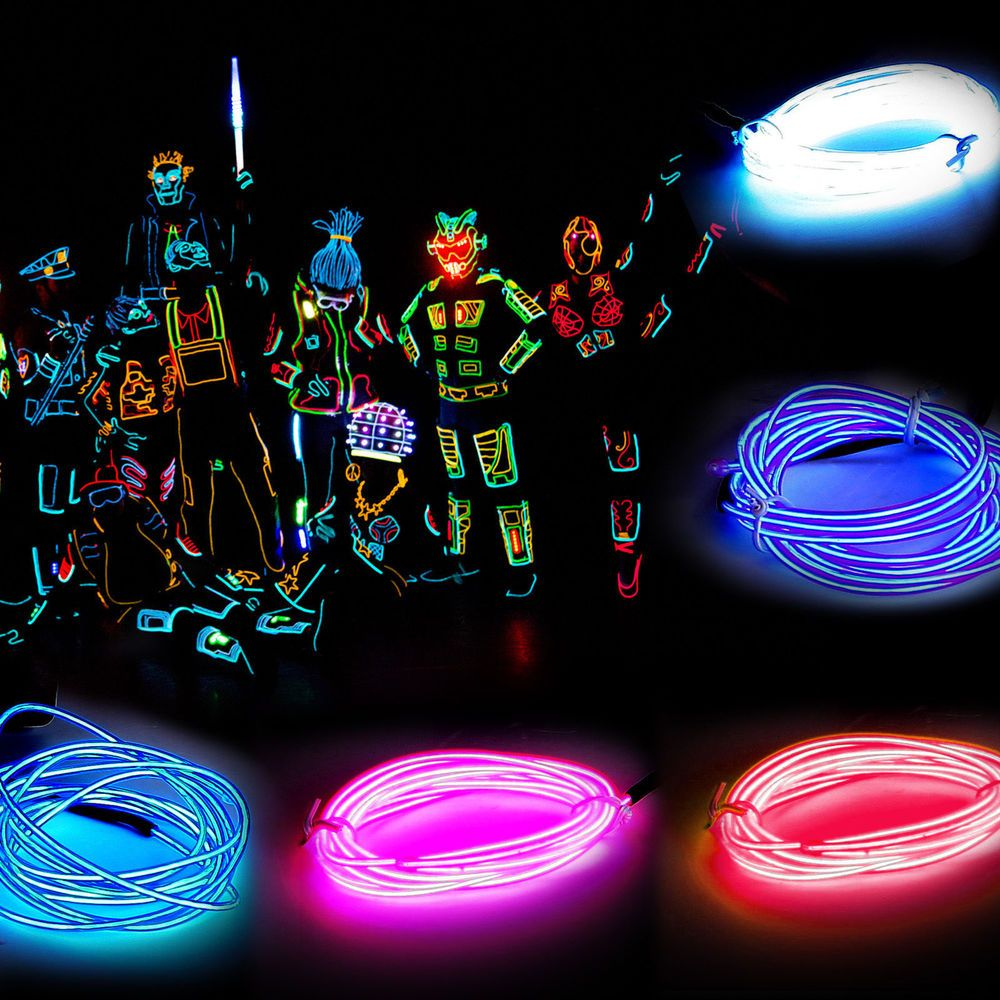 Trend Mark Flexible Led Neon Light Glow El Wire String Strip Rope Tube Cable+battery Controller Led Car Decorative Lamp Light Automobiles & Motorcycles