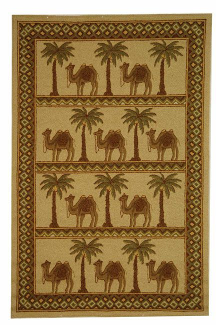 Safavieh Hand-hooked Camel Ivory/ Camel Wool Rug (5'3 x 8'3) (Cotton, Animal)