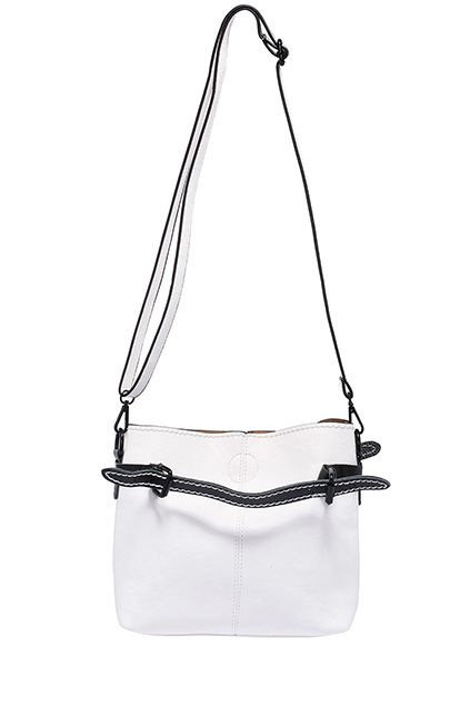 Casual Chic  Shop ROMWE   ROMWE Belt Embellished White PU Bag, The Latest Street Fashion