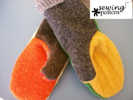 Upcycled Wool Sweater Mitten- PDF Pattern - INSTANT DOWNLOAD ...