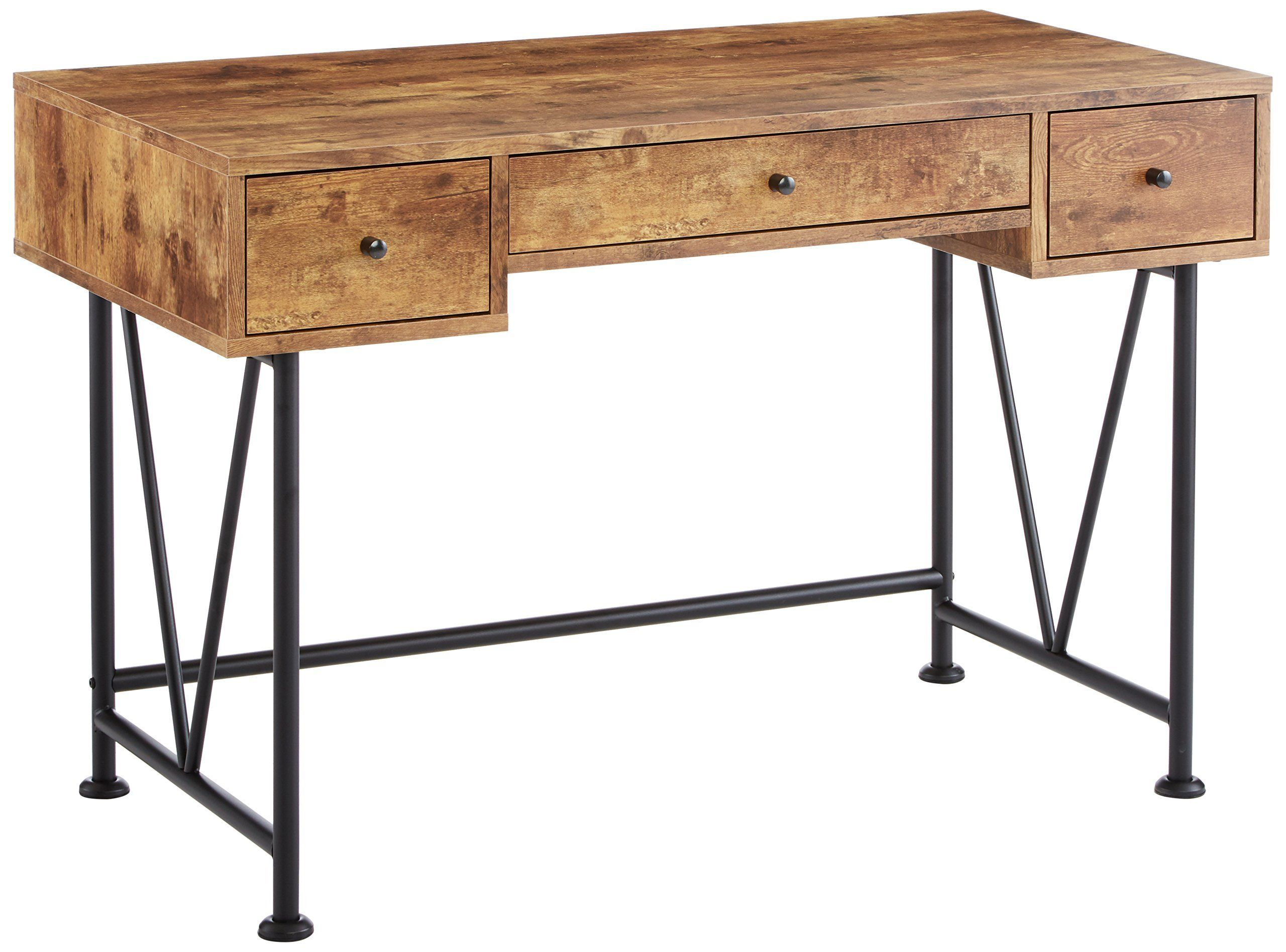 Coaster home furnishings analiese modern rustic industrial three drawer writing desk antique nutmeg read more at the image link