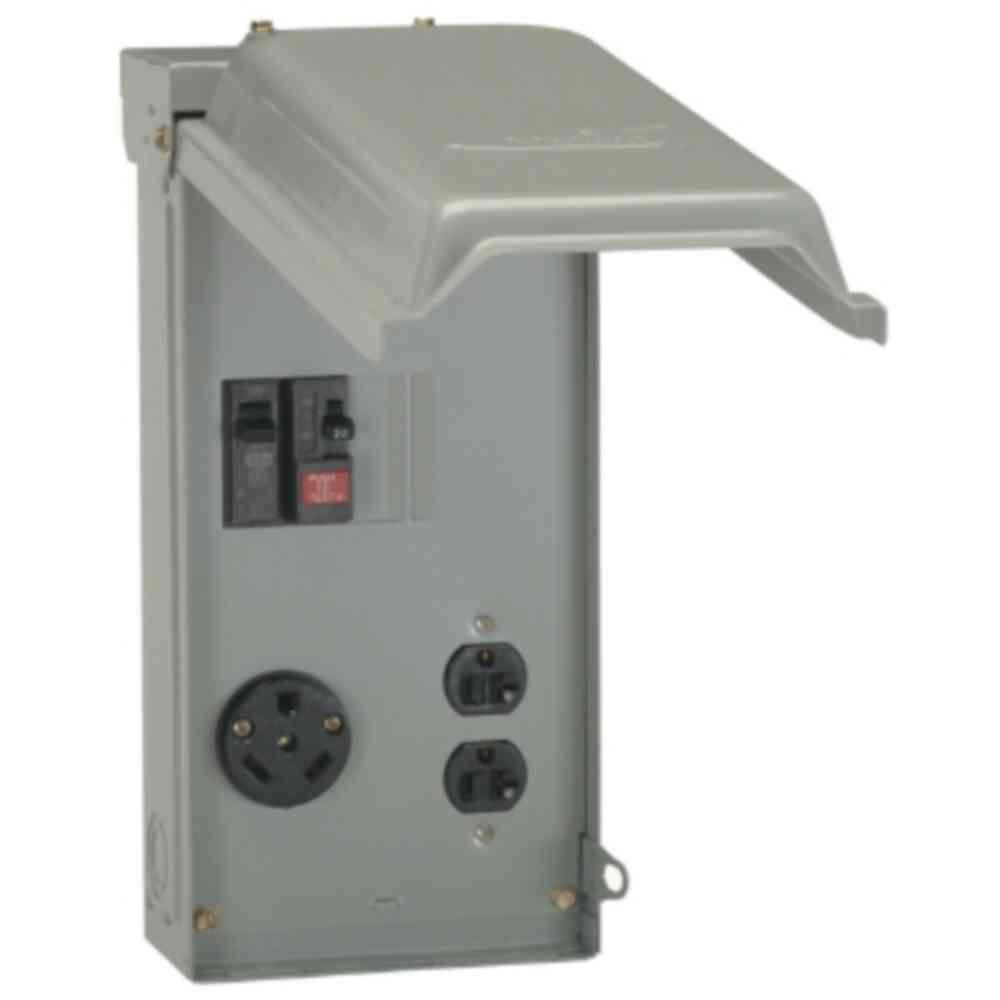 medium resolution of 70 amp power outlet box with duplex 20 amp gfci outlet and single 30 amp outlet gray