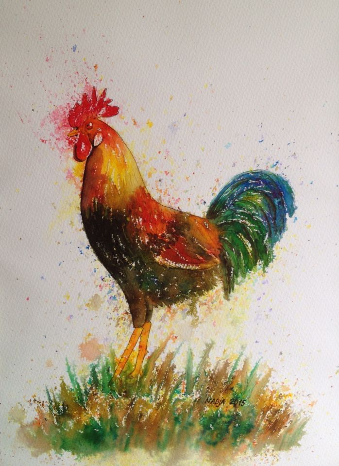 Rooster. Original Brusho painting 28x38 cm #brusho #watercolor #painting #easter #rooster #art #artist #originalart