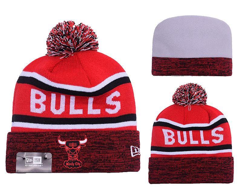 Men s   Women s Chicago Bulls New Era NBA HWC Marled Cuff Knit Beanie Pom  Pom Hat - Red   Black   White cbdf393d8e
