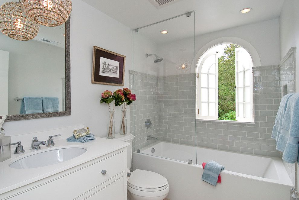 Grey Subway Tile Bathrooms Light Grey Subway Tile Bathroom Contemporary With Black And White Image Bathroom Ideas Pinterest Traditional
