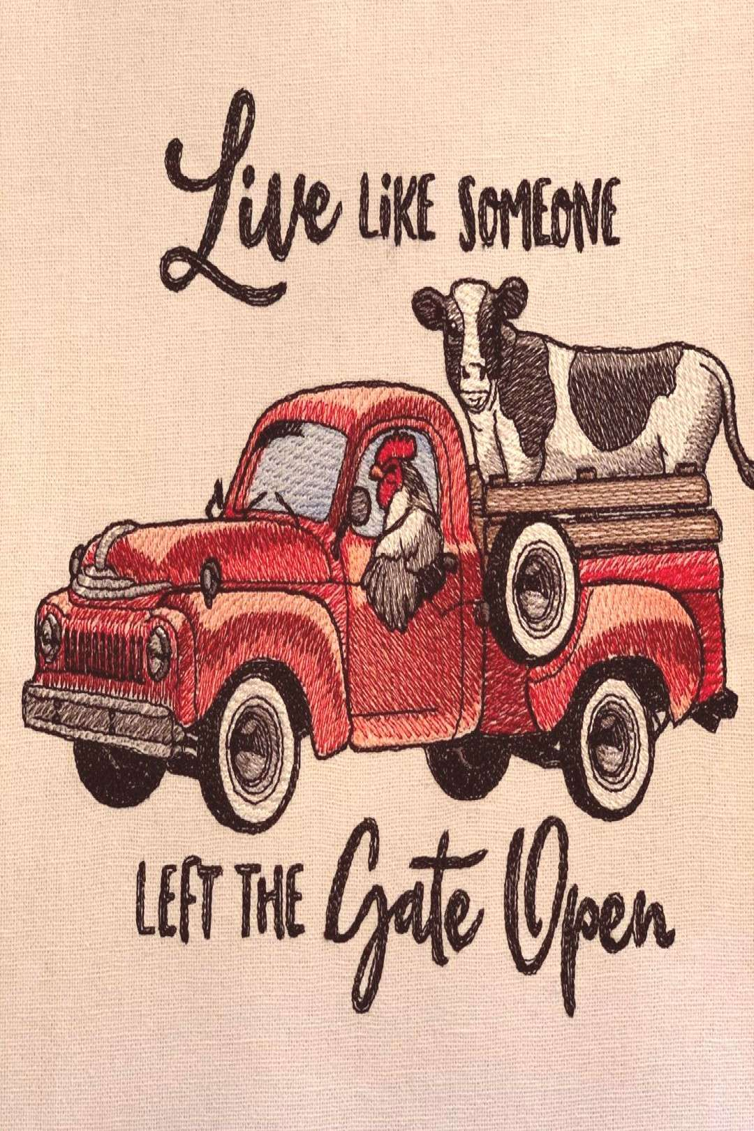 #embroidered #farmhouse #possible #someone #retro #towel #truck #live #gate #left #like #text #says #that #farm Retro Truck Farmhouse Embroidered Hans Towel $25 #farmhouse #farmYou can find Farmhous...