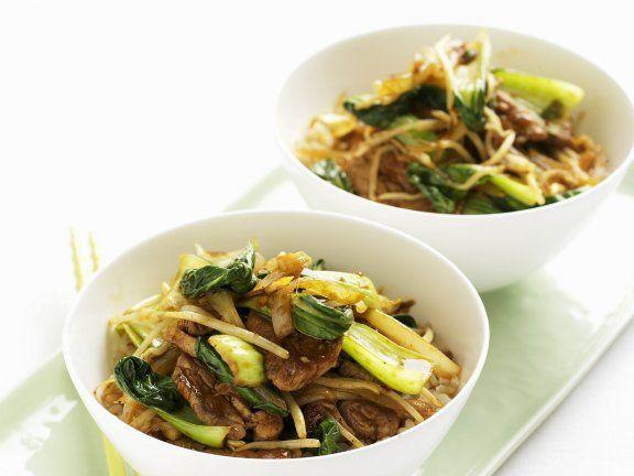 Wok Mit Schweinefleisch Sprossen Und Pak Choy Rezept Rezepte Asiatische Rezepte Fleisch