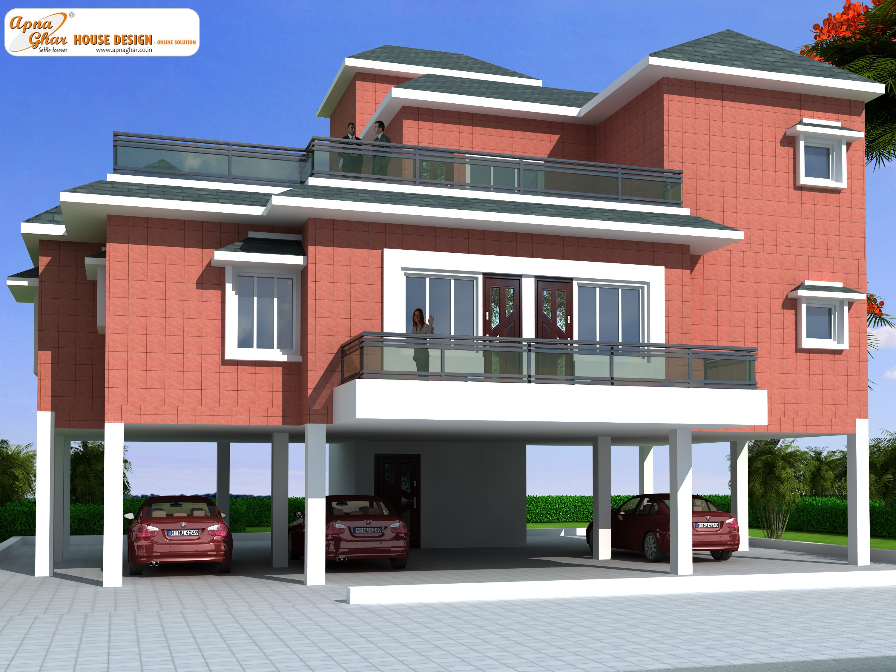 House design first floor - This Is A Beautiful Four Bedrooms Duplex House Design Stilt Floor Ample Space For Car Parking Is Given In Drives Way Lawns At Both Rear And Front Ends
